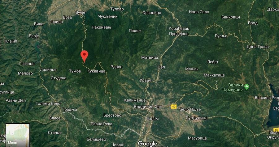 Republički seizmološki zavod objavio da je prvi zemljotres bio u okolini Vladičinog Hana. Foto Screenshot