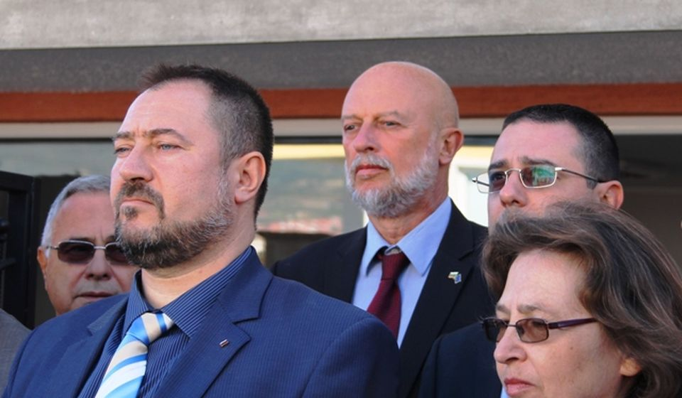 Petar Haralampiev (levo) na otvaranju kancelarije BSC-a u Vranju. Foto VranjeNews