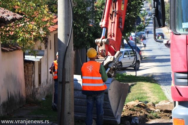 Ulica Bore Stankovića na početku rekonstrukcije. Foto Vranje News