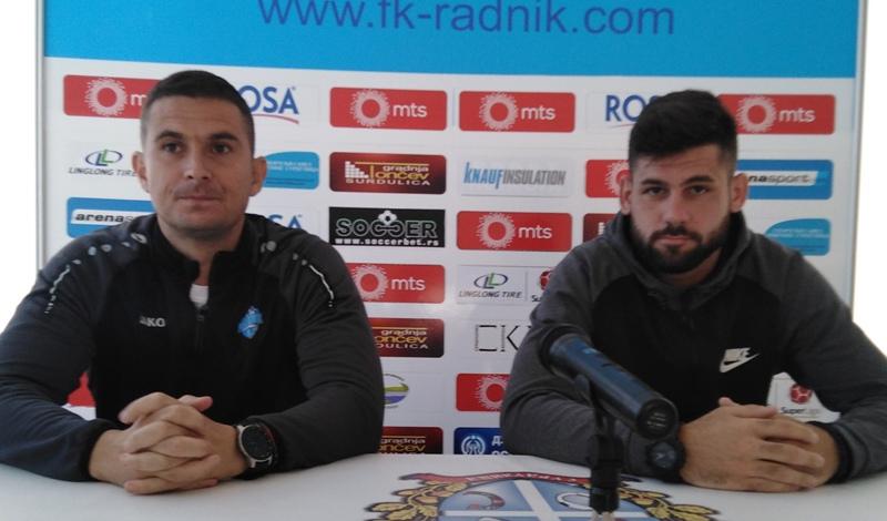 Trener Radnika Slavoljub Đorđević (levo) i napadač Milan Makarić. Foto FK Radnik