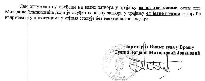 Deo saopštenja Višeg suda. Foto printscreen