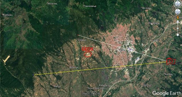 Lokacije koje su bile pod požarom u utorak prepodne. Printscreen Google Earth