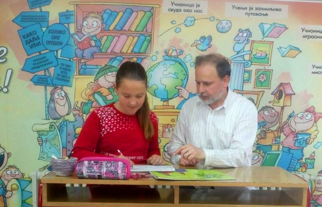 Rad koji daje rezultate: Sofija i njen učitelj Miomir Dejanović. Foto privatna arhiva