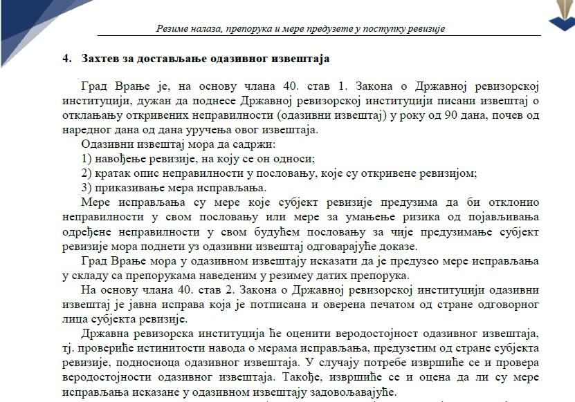 Izvod iz izveštaja DRI. Foto printscreen