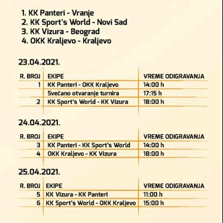 Raspored utakmica. Foto www.vranje.org.rs
