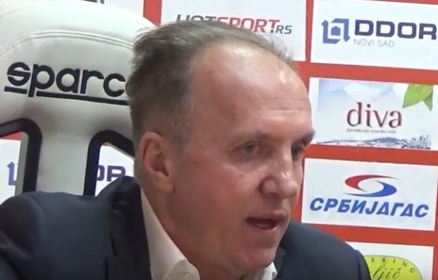 Trener Vojvodine Okuka. Foto Super liga screenshot