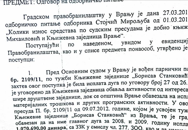 Odgovor Pravobranilaštva na odborničko pitanje Stojčića. Screenshot VranjeNews
