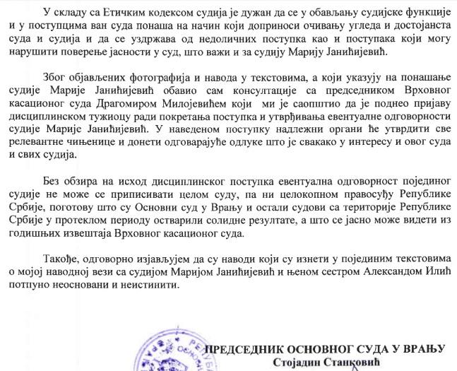 Screenshot Stankovićevog saopštenja