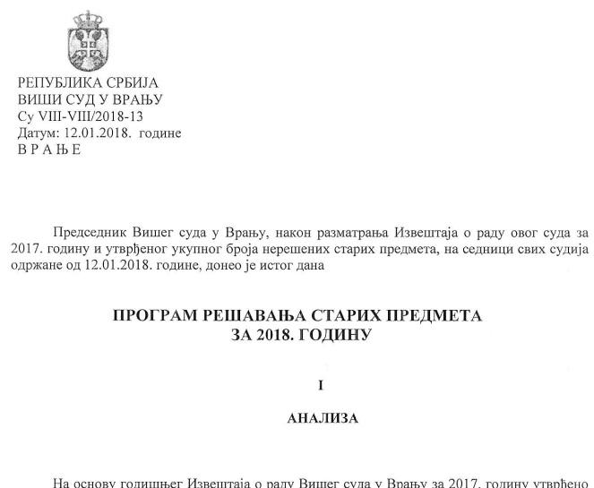 Program za rešavanje starih predemta. Screenshot Vranjenews