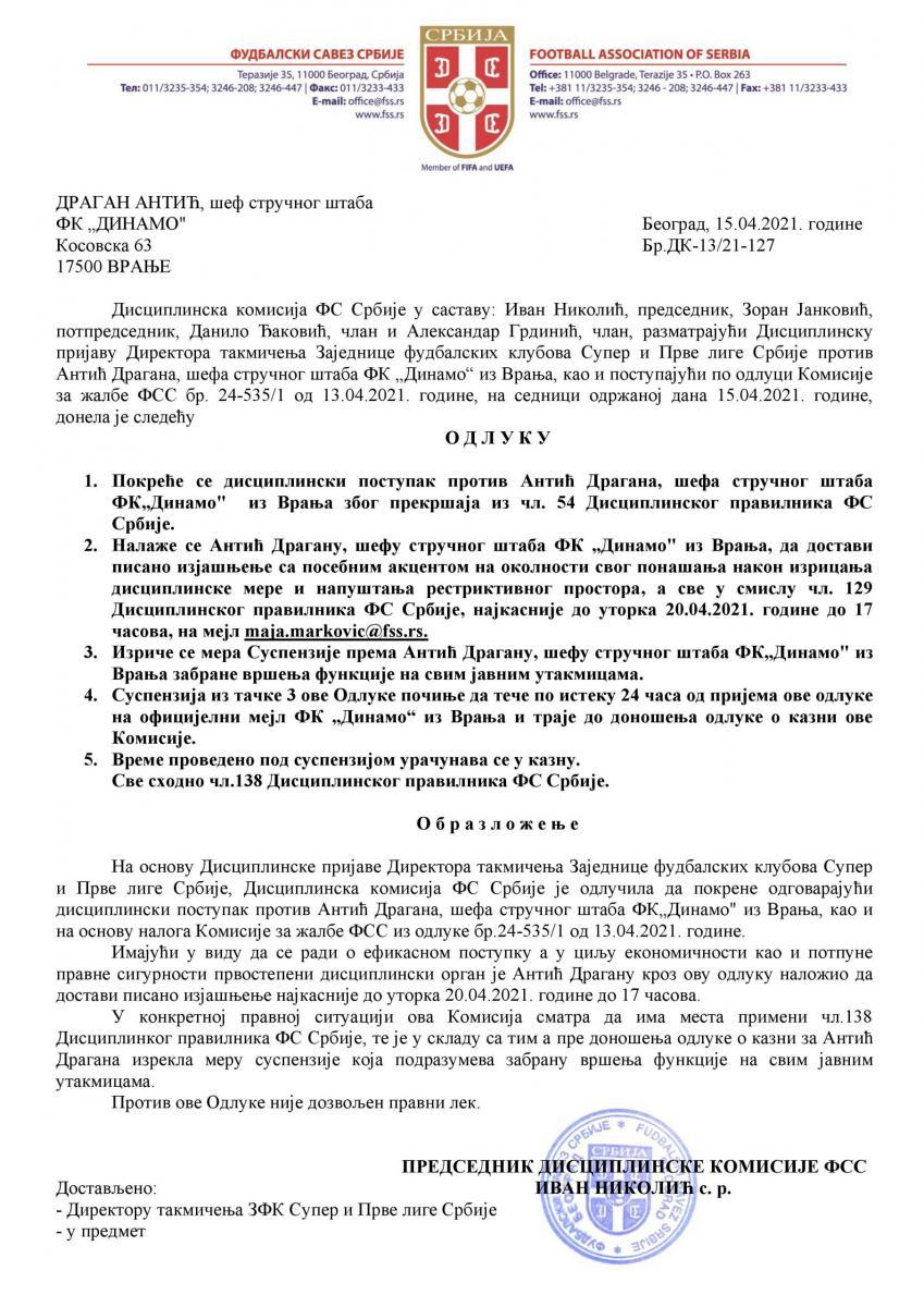Odluka FSS o pokretanju ponovljenog postupka protiv Antića. Foto izvor Foto prinstscreen dela odluke FSS. Foto izvor hotsport.rs