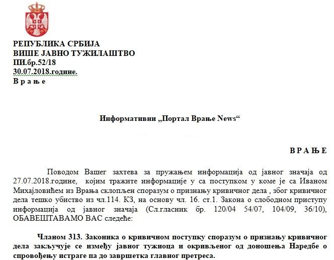 Odgovor VJT na pitanja Vranje News-a. Foto screenshot