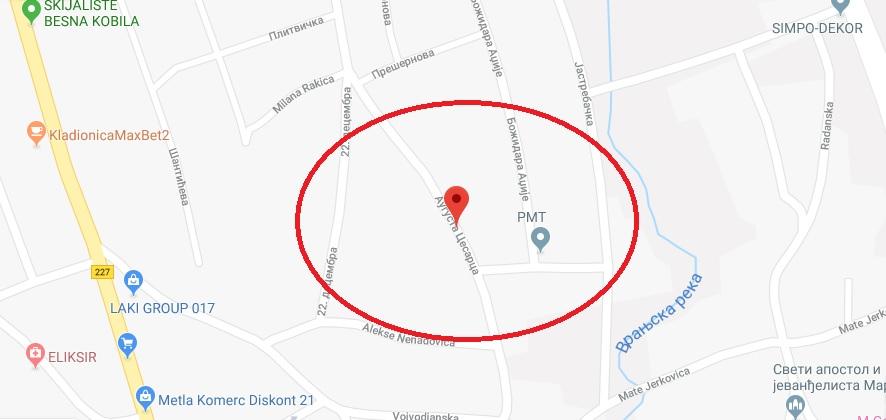 Lokacija na kojoj se dogodila paljevina. Screenshot VranjeNews