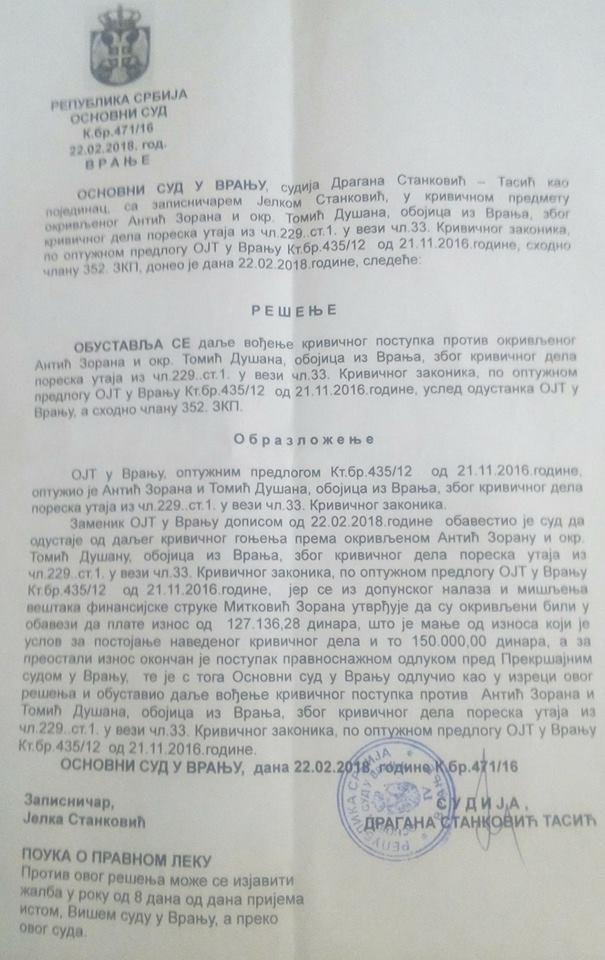 Rešenje Osnovnog suda. Foto Vranjenews